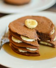 Fluffy Buttermilk Chocolate Pancake with Banana