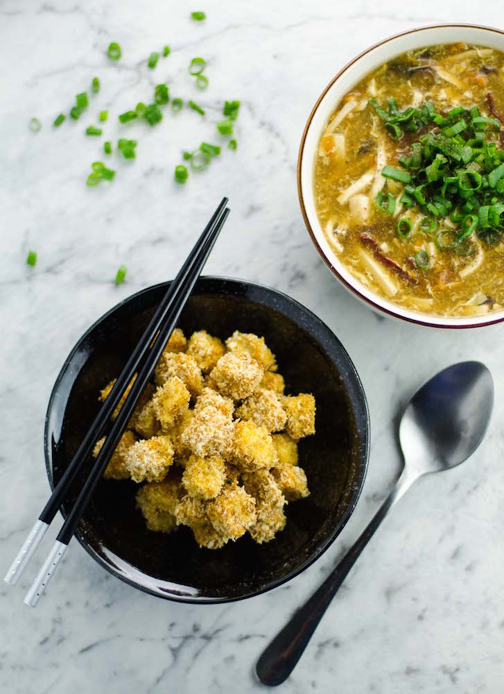 Spicy Crispy Baked Tofu with Soup