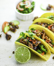 Thai Tacos with Caramelised Pork and Spicy Lime Salad