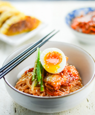 Spicy Cold Noodles with Kimchi