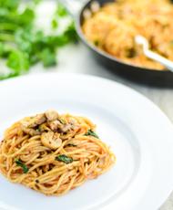 Spicy Cilantro Lime Mushroom Spaghetti