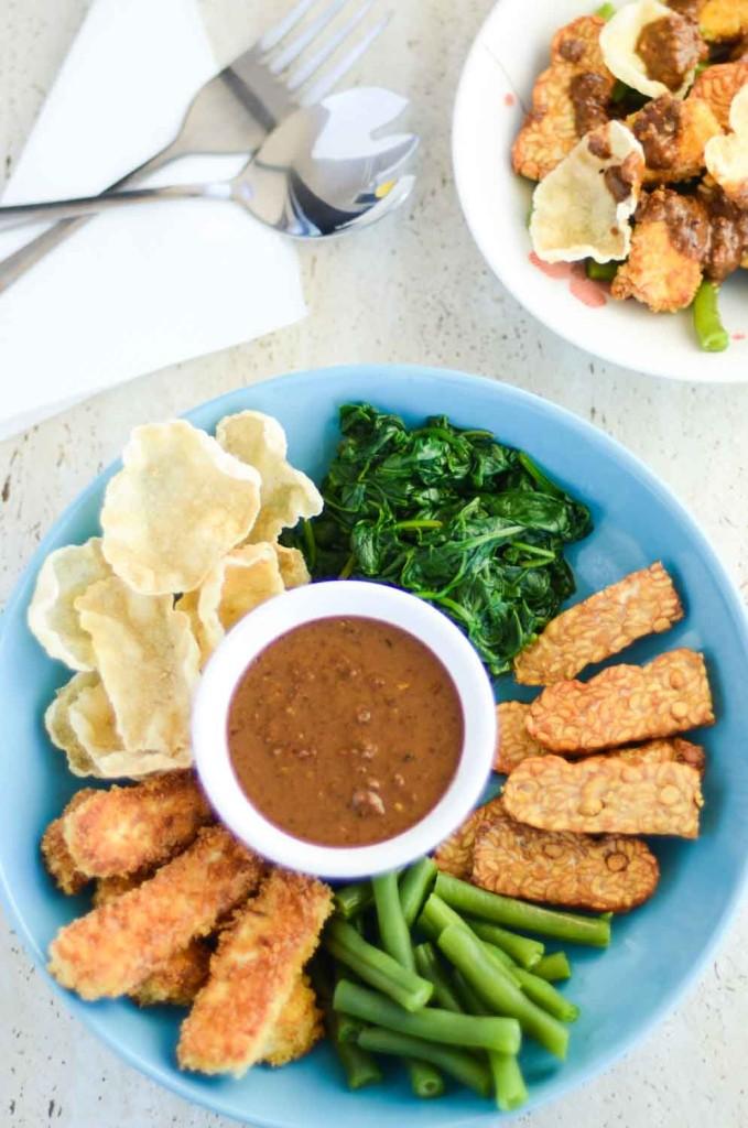 Pecel Mixed Vegetables in Peanut Sauce