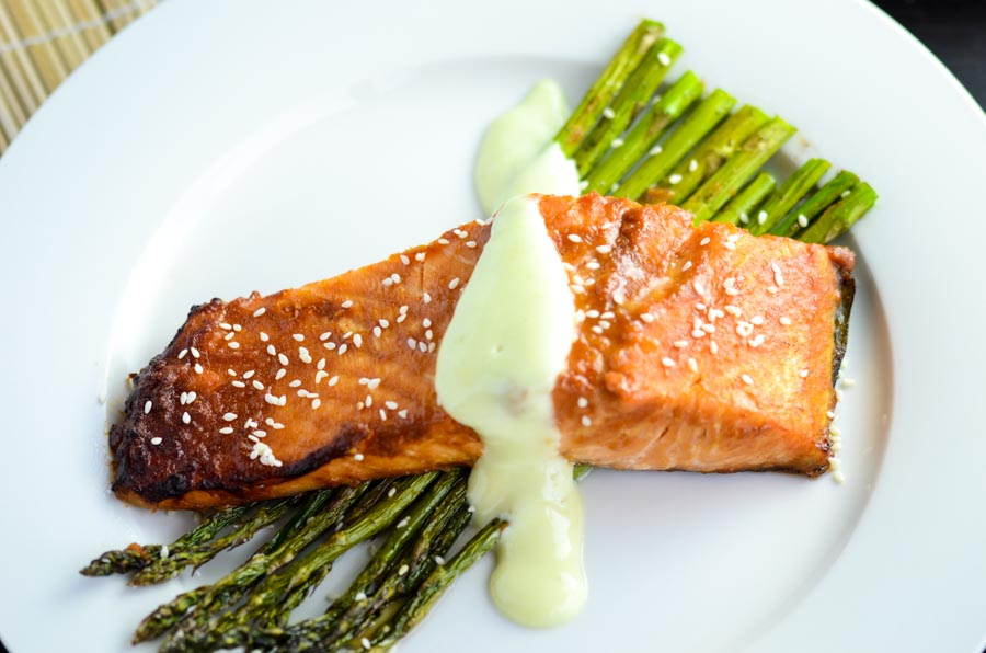 Miso Glazed Salmon with Asparagus and Wasabi Mayo