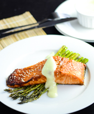 Miso Glazed Salmon with Asparagus Featured